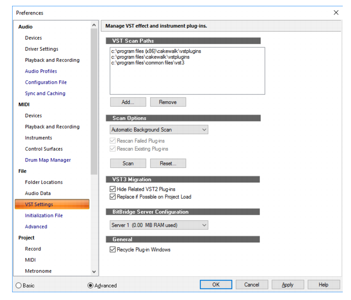 Cakewalk - SONAR Documentation - File - VST Settings