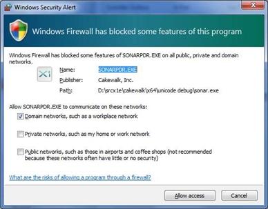 Windows Firewall warning