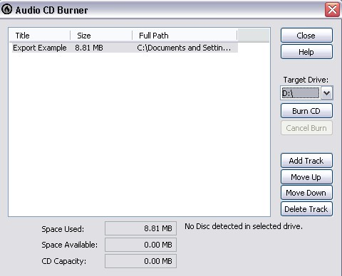 Cakewalk - Knowledge Base - Basic File Exporting for Audio CDs