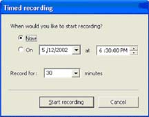 Timed recording options dialog