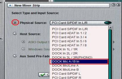 select mixer strip input source