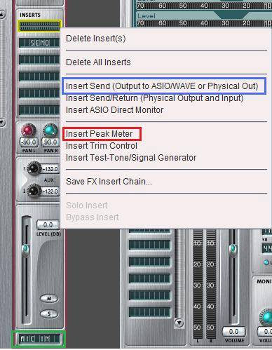 context options for mixer strips