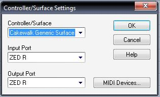 Controller/Surface Settings dialog